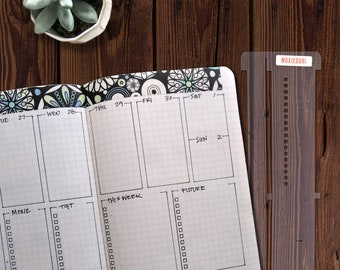 Tidy Slider™ bullet journaling stencil helps you make bujo layouts quickly and accurately. Learn more over here.