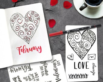 ON SALE Valentine's Day brush lettering tracing card slips under your page so you can trace the words through the page. Grab yours now.