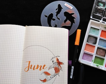 Koi fish bullet journaling stencil creates artistic bujo layouts easily and quickly. Catch it over here.