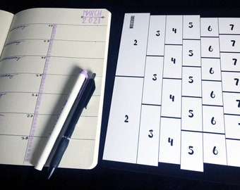 B5 Rows and columns bullet journaling tracing card divides your page vertically and horizontally. Time saver! Get it over here.