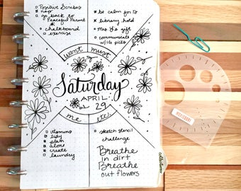 Compass Protractor™ bullet journaling stencil makes perfect concentric circles in your bullet journal. Get it exclusively here.