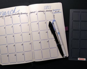 A5 Quick Monthly Layout Stencil creates a monthly calendar in a snap. Get yours here.