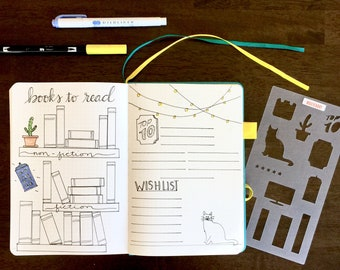 Bookshelf Bullet Journaling Stencil creates movie, TV and book tracker layouts Find it over here.