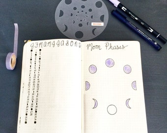 Moon Phase Bullet Journaling Stencil makes lunar bujo layouts in three sizes. Get it over here.