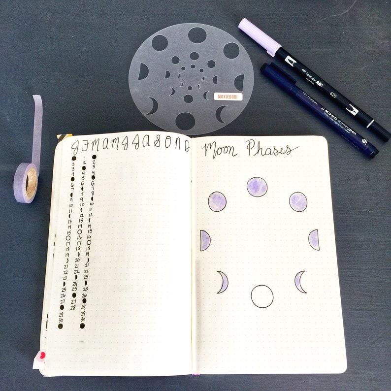 Lunar Moon Phase Bullet Journal Stencil