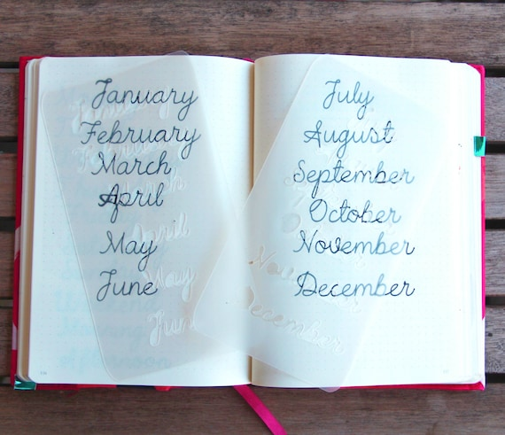 Months of the Year CURSIVE SCRIPT Monthly Layout Bullet | Etsy