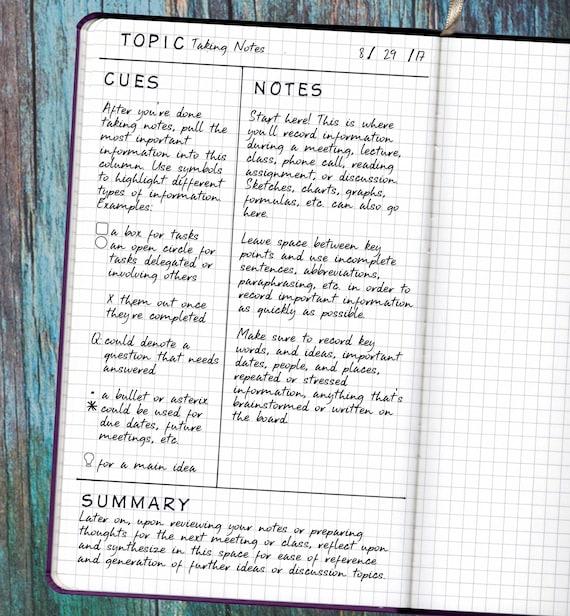 Student Planner Note Taking Bullet Journal Stencil Cornell Etsy