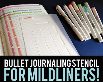 Thick & Thin Line Journal Stencil works with Mildliners and Crayola SuperTips to divide your page into rows and columns. Grab it over here.