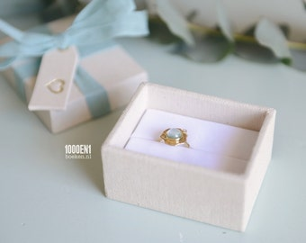 Personalized ring box blue bow