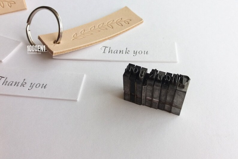 Thank you leather labels with branch