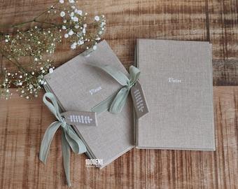 Wedding vow book size A6 Sand linen
