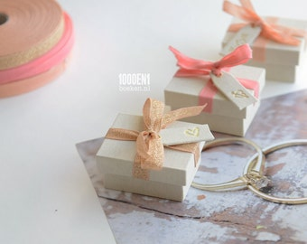 Personalized ring box with salmon  bow