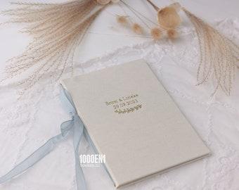 Wedding vow book size A5 Natural linen with ribbon