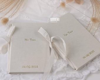 Wedding vow book size A6 Natural linen