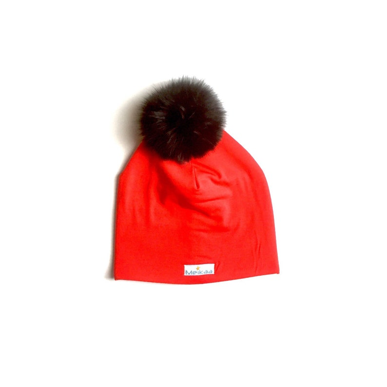 df3acb35c Bamboo Slouchy Hats Red with recycled fox pompom Baby