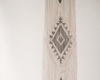 Macrame Wallhanging Navajo Grey Geometric Block Print  Natural Cotton