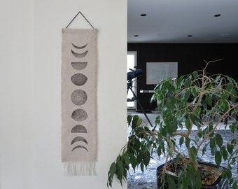 Gift under 30, Moon Phase, Dorm Decor, Lunar Wall Hanging, Boho chic, Fringe, Block Print ,Modern Home Decor