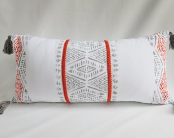 Global Inspired, Throw Pillow cover, Tassels ,Orange,Gray, Embroidered trim, Rustic Modern, Boho decor,Block Printed,Triangles, White cotton