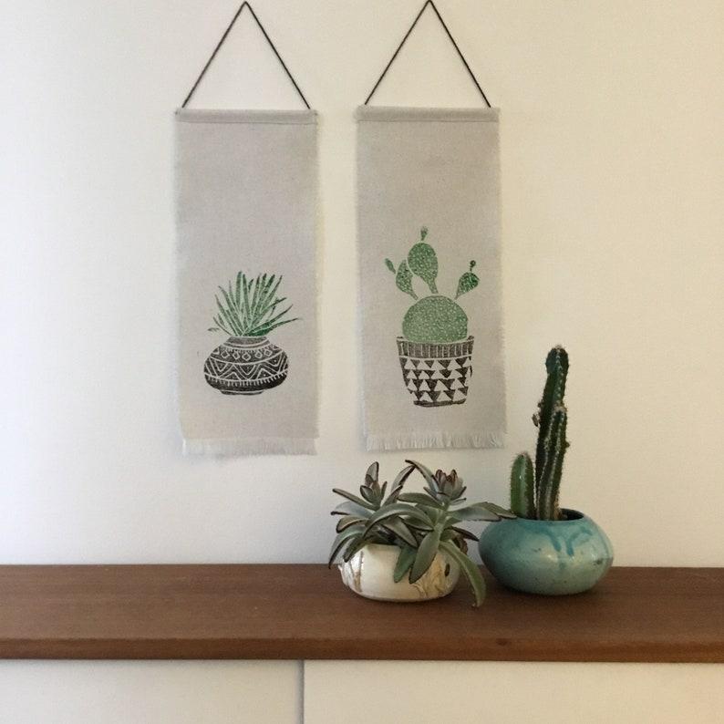 8384e3b23a Cactus Print Wallhanging SET OF 2 Succulent Boho decor | Etsy