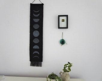 Moon Phase, Gift under 30, Dorm Decor, Wall Hanging,  Boho chic, Fringe, Block print ,Modern Home Decor