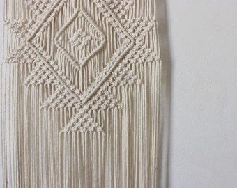 Handmade Macrame Wall Hanging Wall Decor Boho Chic Wall Art Aztec Bohemian Creme Cotton Organic Yarn Tapestry Weave Crochet Knotted Wedding