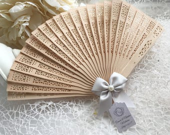 7ca891f58 10 Summer Wedding Hand Fans Guest gift with personalised tag, Sandal wood  fan, Wedding favour gift, Wooden Fans set of 10