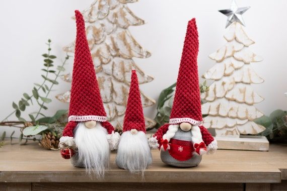 Scandinavian Gnomes With Red Hats Christmas Tomte Holiday Etsy