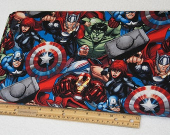 cfbcfe4f 1/2 Yard Marvel Packed Avengers Licensed Character Fabric 100% Cotton