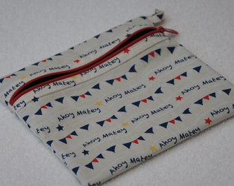 Ahoy Matey Cotton Fabric Fully Lined Zipper Pouch