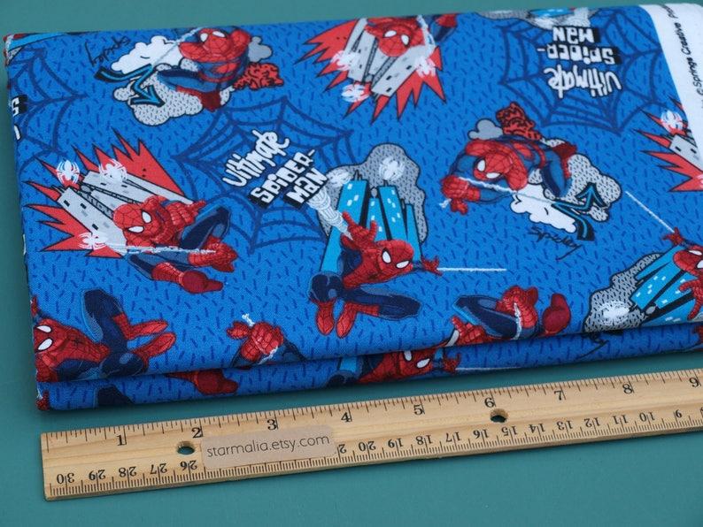 100/% Cotton Spiderman Web Swinging Marvel Comic Fabric Blue