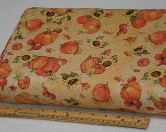 1/2 Yard Pumpkin and Sunflower Toss by Susan Winget 100% Premium Cotton Fabric
