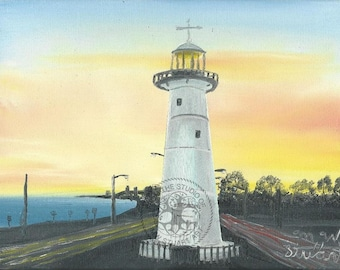 Original Oil Biloxi Lighthouse At Night By M W Etsy