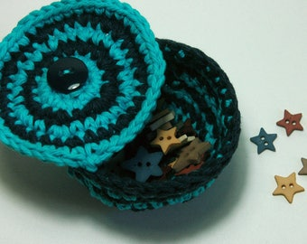 Mini Crochet Cotton Basket with attached cover