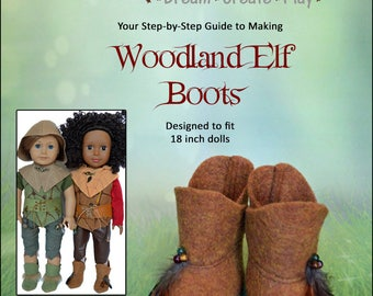 Woodland Elf Boots for 18 inch dolls