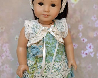 Fits 18 inch dolls such as American Girl, Blue Green Mori style dress skirt and shrug