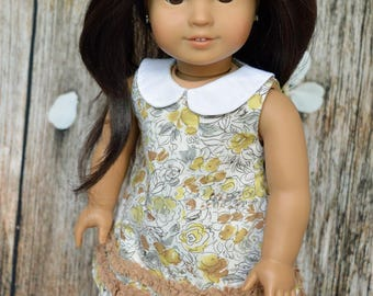 Fits 18 inch dolls such as American Girl, Mori Style Collared REVERSIBLE Dress and Skirt