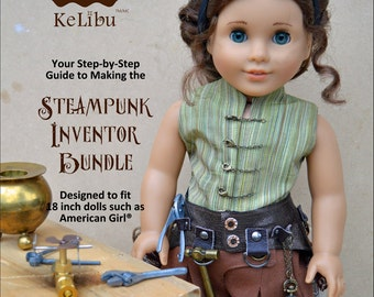 Steampunk Inventor Bundle Doll Clothes Pattern for 18 inch dolls - PDF