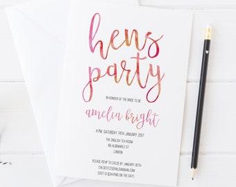 hens night invite etsy