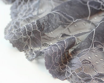 1 m (1.09 yd) of Stretch lace - Grey & White - 22 cm Wide