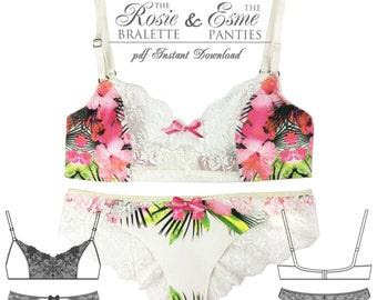 DIGITAL Lingerie Sewing Pattern - Esme Panties & Rosie Bra - pdf instant download from EVIE la LUVE