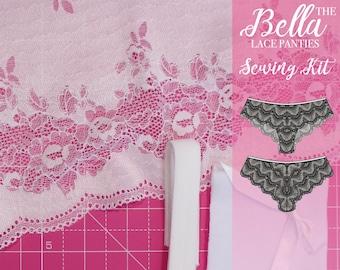 Bella Lace Panties Sewing Kit - White Floral