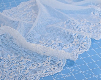 "1 m (1.09 yd) of Stretch lace - White - 21 cm (8, 1/4"") Wide"