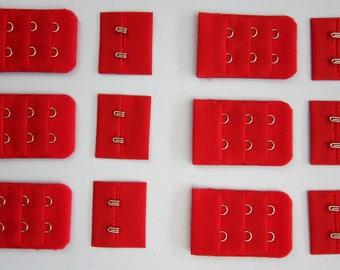 1, 2 or 6 x Scarlet Bra Hook & Eye Bra Closure - 2 rows