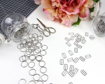 12 sets (15mm) of Silver Rings & Sliders - 15 mm