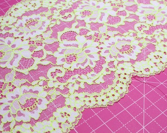 "1 m (1.09 yd) of Stretch lace - Fluorescent Yellow - 21 cm (8, 1/4"") Wide"