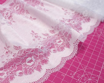 "1 m (1.09 yd) of Stretch lace - Bright White Floral - 23.5 cm (9,1/4"") Wide"