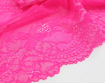 "1 m (1.09 yd) of Stretch lace - Hot Pink - 22 cm (8, 3/4"") Wide"