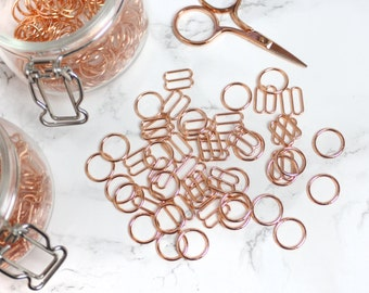 12 sets (12mm) of Rose Gold Rings & Sliders - 12 mm