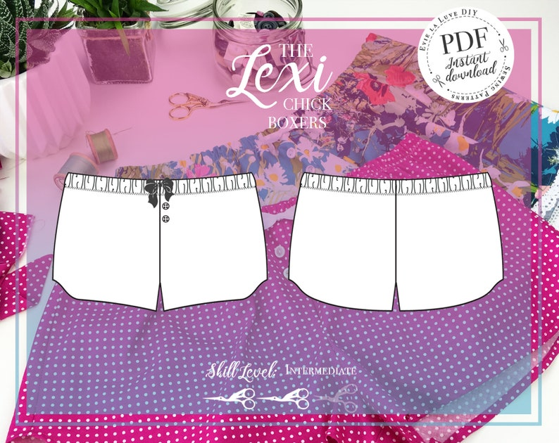 Lexi Chick Boxers Lingerie Sewing Pattern  PDF Instant image 0