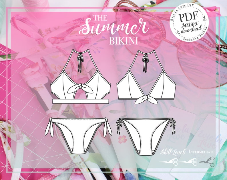 6fbf357bafc Summer Bikini Swimwear Sewing Pattern - PDF Instant Download - Evie la Lùve
